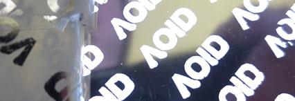Security Coloured metallic VOID label Rexor metallic glossy or matt VOID ribbon
